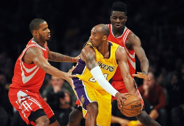 Lakers Video: Kobe Bryant Posterizes Clint Capela In Third Quarter
