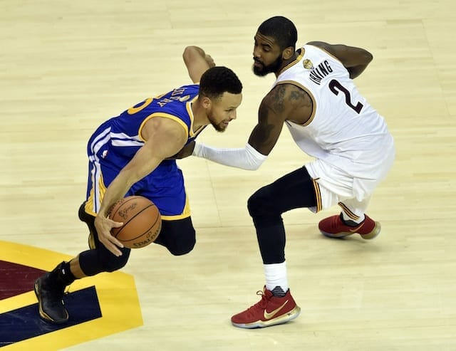 Video: Stephen Curry Makes Fun Of Lebron James As Kyrie Irving Eggs Him On