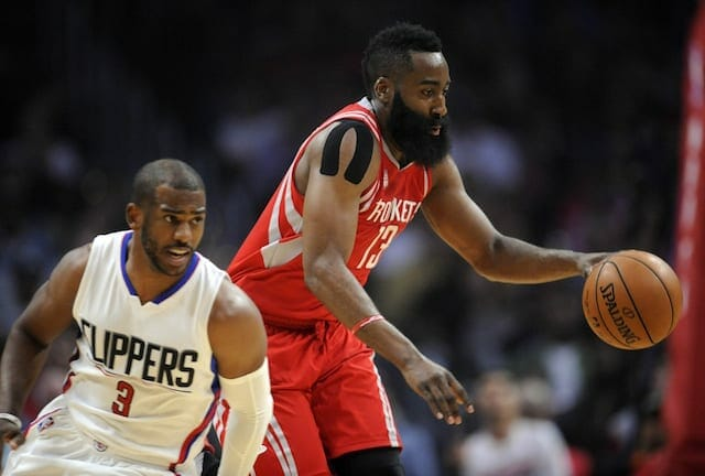 Video: Chris Paul Yells At James Harden For Not Taking Layup During Drew League Game