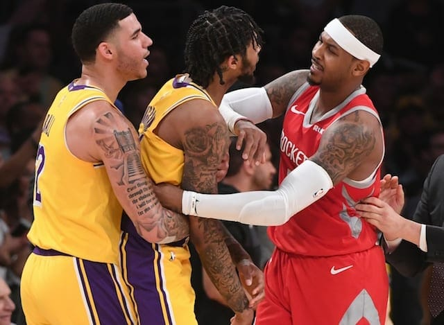 Carmelo Anthony, Lonzo Ball, Brandon Ingram, Lakers, Rockets