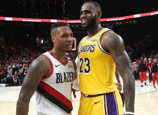LeBron James, Damian Lillard, Lakers, Trail Blazers