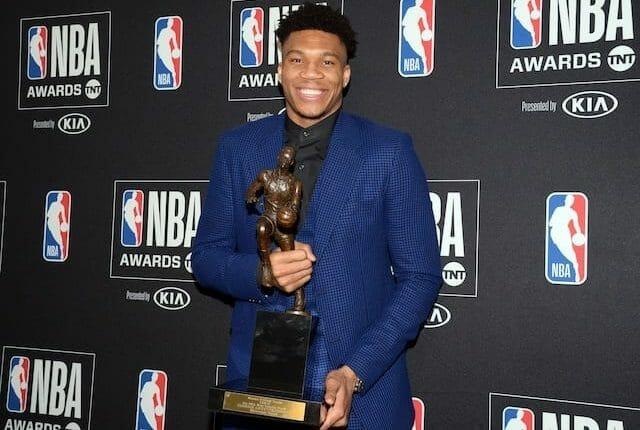 Milwaukee Bucks forward Giannis Antetokounmpo with his 2019 MVP Award at the NBA Awards Show