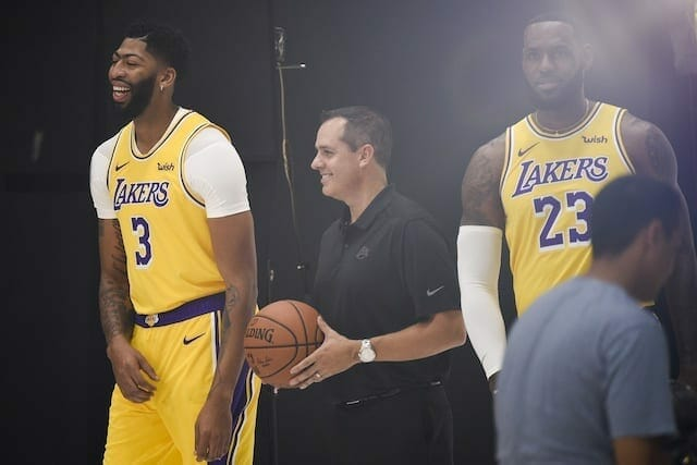 Lakers Training Camp: Frank Vogel Changing Lineups Around Anthony Davis, Lebron James Every Day