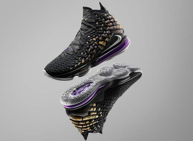 Official images and release date details for the Nike Lebron 17 'Lakers' colorway