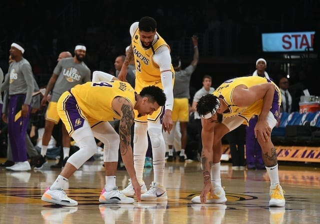 Danny Green, Anthony Davis, JaVale McGee, Lakers