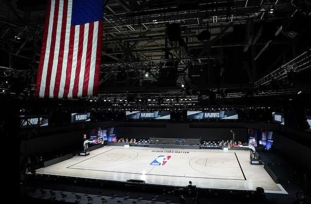 American flag, court view, 2020 NBA Playoffs