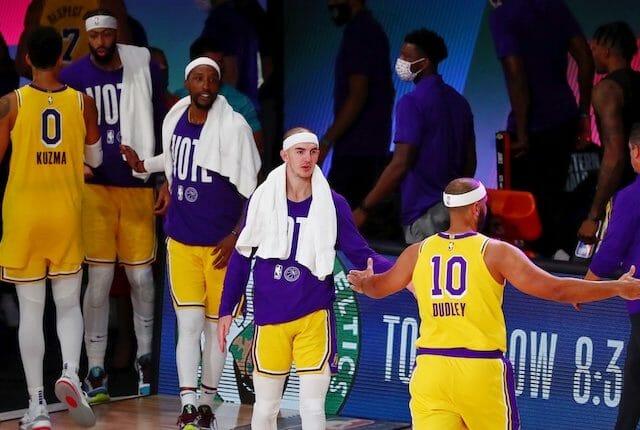 Kentavious Caldwell-Pope, Alex Caruso, Anthony Davis, Jared Dudley, Kyle Kuzma, Lakers win