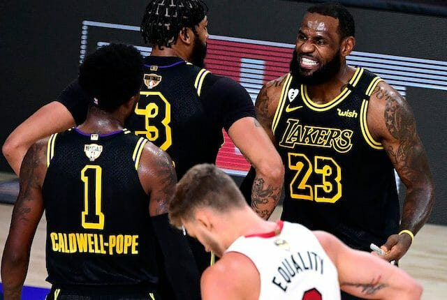 Kentavious Caldwell-Pope, Anthony Davis, LeBron James, Lakers