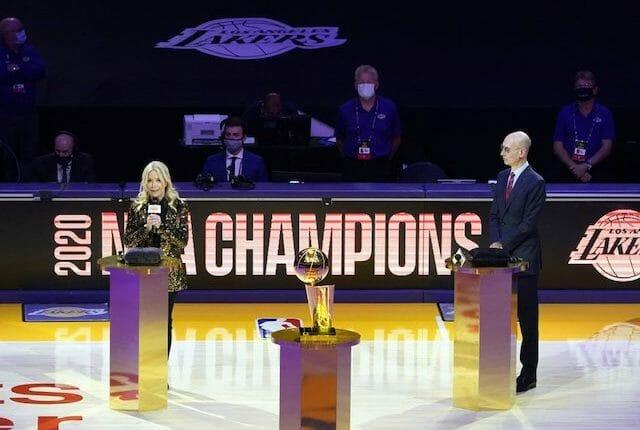 Jeanie Buss, Adam Silver, Larry O'Brien trophy.